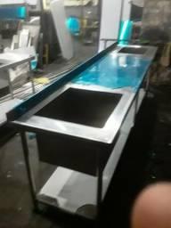 Mesa inox com pia (fábrica)