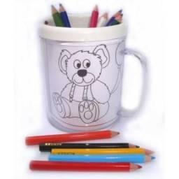 Caneca para colorir personalalizada com sua arte, foto ou tema