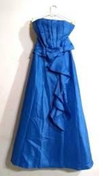 Vestido Social Longo Azul Novo Eklacia