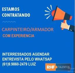 Estamos contratado Carpinteiro/Armador Com experiência !!