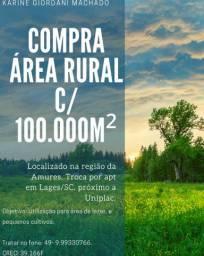 Procuro área rural com aprox. 100.000 m² na região da Amures