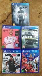PS4 jogos semi novos FIFA PES NBA CALL UNCHARTED