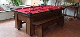 Mesa de Bilhar Charme Imbuia Tecido Vermelho Modelo LKD6531