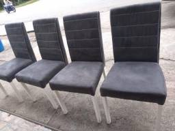 Cadeiras c/ tecido suede cinza - entrego!