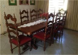 Conjunto De Mesa De Jantar Em Madeira Maciça Com 8 Cadeiras