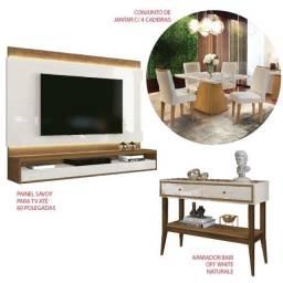 Kit- Painel Savoy Para TV até 60 Polegadas- Mesa de Jantar c/ 4 Cadeiras - Aparador