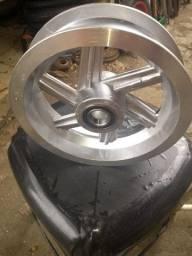 """Roda de aluminio 8"""" com rolamentos ref 6005 preço por unidade só a roda 60,00"""