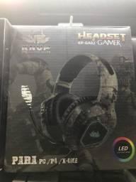 Fone de Ouvido Headset Gamer com Led USB+2 P2 KP-GA02 - Knup
