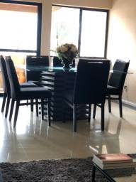 Mesa com tampo de vidro 1,5x1x5 8 cadeiras