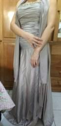 Lindo vestido longo de festa Prata