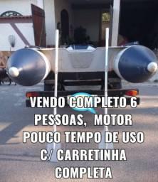 VENDO BOTE COMPLETO COM MOTOR E CARRETINHA  TUDO VISTORIADO E OK
