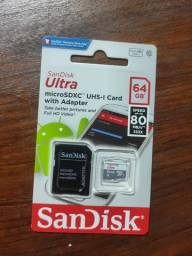 Cartão De Memória Sandisk 64gb Ultra Com Adaptador