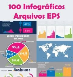 Título do anúncio: 100 Infográficos Arquivos Eps Editáveis (Illustrator)