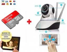 Título do anúncio: Kit Câmera IP Wifi + Cartão Gravação, 2A Babá Eletrônica, V360 Visão Noturna, Alarme.