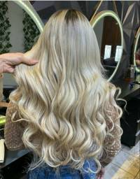 Mega Hair-Loiro Perolado-185 Gramas de Cabelo Brasileiro-Tela Costurada...