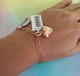 Linda Pulseira rommanel+ pingente coração folheada a ouro 18k