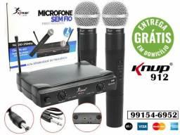 Microfone Sem Fio Wireless Duplo Knup Kp-912, aceitamos acrtões