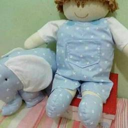 Boneco de pano 40 cm e elefante 30 cm