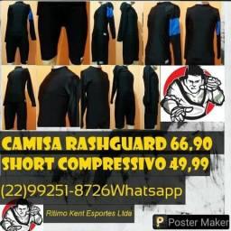 Rash Guard + Short Treino compressivo No-gi produtos novos e embalados