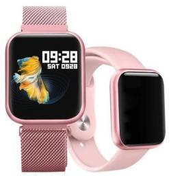 Relógio Smartwatch Sport Bracelet P80 Rose Com Duas Pulseiras Novo na Caixa