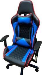 Promoção Cadeira Gamer Azul E Preta Com Detalhe Vermelho