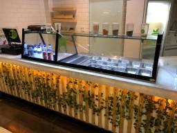 Pista Fria 2 metros - buffet com vidro separador e led!
