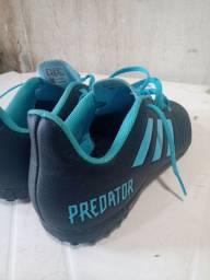 Chuteira Society Adidas Predator 19 4 TF - Preto e Azul
