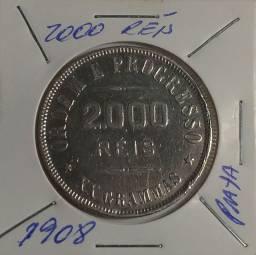 Moeda de 2000 réis de prata XX gramas de 1908