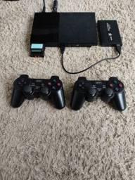 Título do anúncio: Playstation 2+2 controles s/fio+ 188 jogos+HD+ypbr