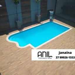 Título do anúncio: JA - Piscina de fibra 6 metros - escada + poltrona anatômica acoplada - Fábrica #Anil