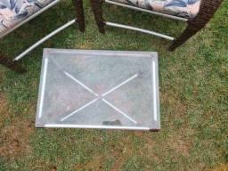 Cadeira Externas em Fibra + mesa de vidro