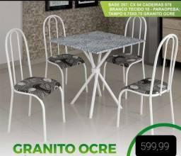 Mesa 4 cadeiras tampo em Granito