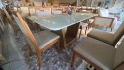 Título do anúncio: Mesa de jantar madeira e acabamento laka de 6