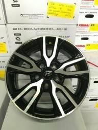 Roda aro 16 Hyundai Creta Diamantada com Preto 5X114 Jogo Novo com Inmetro e Garantia