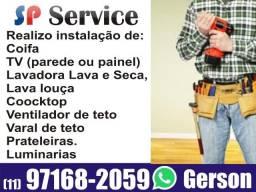 Instalador de Eletrodomésticos Coifas Lavadoras Ventilador TV Varal Hidráulica / Marido