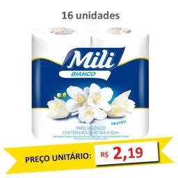 Papel Higiênico Mili Bianco 4 Rolos 30m (Fardo c/16)