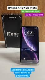 Título do anúncio: Promoção iPhone XR 64gb Preto 3 meses de Garantia.