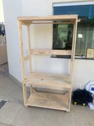Título do anúncio: Vendo moveis em madeira natural armario arara estante e suporte p plantas