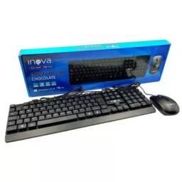 Título do anúncio: Kit Teclado E Mouse C/ Fio 1200dpi Key-8387 Inova Preto C/nf