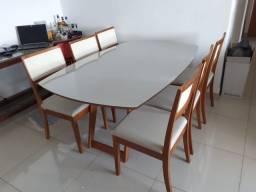 Título do anúncio: Mesa de jantar completa de madeira e acabamento laka luxo resistente e aconchegante