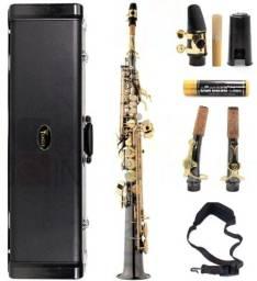 Título do anúncio: Sax Soprano Eagle SP502 - Preto Ônix - Chave Laq.