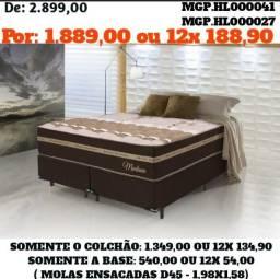 Título do anúncio: Conjunto Box Mola Ensacada D45 Casal Queen- Cama Casal Queen-Colchões+Base