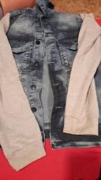 Casaco jeans com moletom