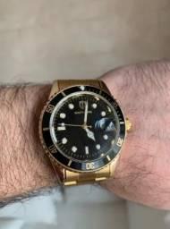 Top Relógio Masculino Southberg Dourado com Data Resistente à Água 100% Novo e Original