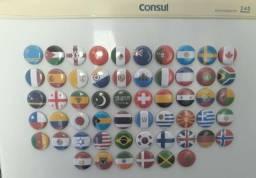 Botons Imã Geladeira Bandeiras Países Turismo 2,5 Cm
