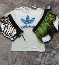Short hurley e camisa adidas