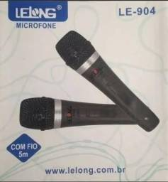 2 Microfones Profissional Lelong C/ Fio 5m Le904-