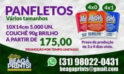 Panfleto, frente colorido- 90g - 5.000uni = R$175,00