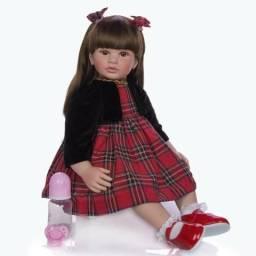 Boneca bebê Reborn Menina realista cabelo longo 62 cm