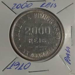 Moeda de 2000 Réis de 1910 de Prata XX Gramas